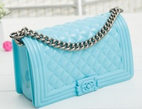 The new spring and summer  jelly candy color small fragrant transparent diamond lattice chain bag and shoulder bag FREE SHIPPING