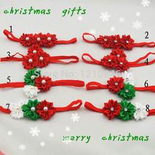 cinta de raso trail triple diademas de flores regalo de navidad para chica en cintas elásticas 8 piezas(China (Mainland))