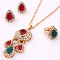 Free Shipping, Promotion Elegant Green Red Necklace Bangle Gold Plated African Women Costume Fashion Jewelry Sets