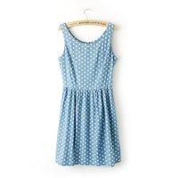 Girls sweet denim dot prints o-neck tank sleeves regular above knee pleated dress 221802