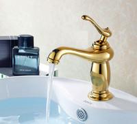 Art Deco Ti-PVD Golden Lantern Solid Brass Functional Centerset Mixer Tap Bathroom Vanity Sink / Basin Faucet (UP-4103)