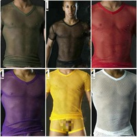 Comfy Male underwear big mesh summer the trend of fashion personality male short-sleeve T-shirt m18-2tx chromophous