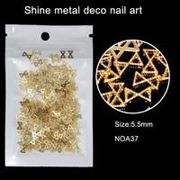 200pcs/lot 5.5mm Hollow Alloy Metal 3D Golden Bow Design Accessories Nail Art Salon