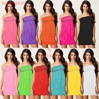 2014 Summer New Women's Fashion Petal Chest Wrapped Beach Dress Sexy Sweet Seaside Resort Dress DM-VB005