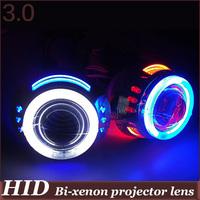 3.0 inch  Double Angel Eyes CCFL HID Bi xenon Projector  H4h/l H1h/l H7h/l 9005h/l 9006h/l 4300k 6000k 8000k devil eyes car lens