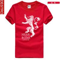 2014 new game.of.thrones Summer men's short-sleeved T-shirt  hear me roar  Men's Fashion Lannister lion