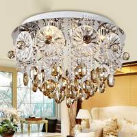 Free shipping LED Modern crystal ceiling lights bed room foyer dining room ceiling lamps round flower crystal light