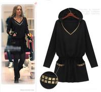 Plus Size New 2014 England Style Punk Women Winter Dress Hooded Slim Long Sleeve Black Dress Casual Sequin Dresses Vestidos 810