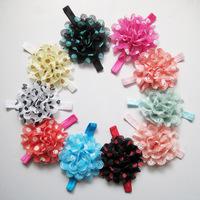 2014 t wholesale newborn lace headbands baby dot chiffon flower silk flowers for headbands  girls hair accessories 100pcs/lot