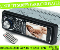 3 inch TFT Screen,12V Car radio, car mp4 player,Car stereo,1 Din,AUX in,car fm radio mp5 player,support USB/SD,Remote Control