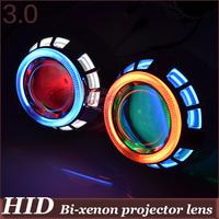 3.0 inch  Double CCFL Angel Eyes HID Bi-xenon Projector  H4 H1 H7 H11 9005 9006 4300k 6000k 8000k devil eyes car lens