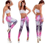 Vogue Women's Soft Milk Silk Gorgeous fireworks Print Leggings Stretchy Pants 5 styles Free Shipping  BS