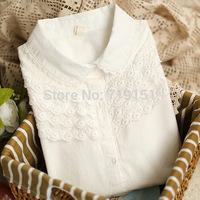 White long-sleeve shirt women's small fresh lace white shirt female cotton shirt basic shirt top female