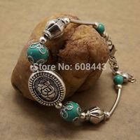 BR257 Gypsy Handmade Vintage Tibetan Silver TURQUOISE Stone Flower Charm Bracelet Bangle Wholesale Jewelry Jewellery