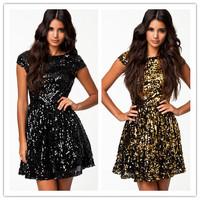 wonderful magnificence Golden/ Niello  Flashy Sequin Textured Skater Dress new 2014 vestidos party dress elegant dress sexuality