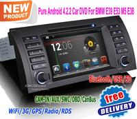 7 inch pure android 4.2.2 car dvd player autoradio gps navigator OBD BT for bmw E39 E53 M5 E38 free shipping KS9753