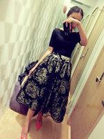 2014 Summer Women Dress Elegant Vintage off Shoulder Organza High Waist Floral Lace Dress Fashion Black Ball Gown
