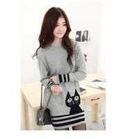 New Women's O-Neck Full Long Sleeve Jersey Gray Cat Mini Dress Sweter Dress Size Free