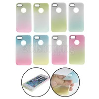 For Apple iPhone 5C NEW Stylish Rainbow Color Matte Soft TPU Back Case Cover Skin Free Shipping