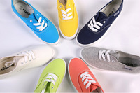 2014  Wholesale new sale brand women's candy color flat  canvas shoes 9 colors breathable casual men sneakers Free shipping