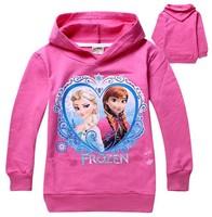 free shipping girls Frozen hoodies kids cartoon princess Elsa Anna hoody clothing baby long sleeve sweatshirts pink