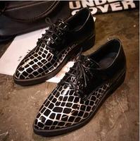 New 2014 Fashion Oxford Shoes For Women Retro Lattice Splice Oxford Shoes Woman