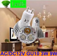 4pcs/lot AC/DC 12V GU10 3W 9W LED spotlight tubes bulb Dimmable Cold / warm white High Power spot light Lighting lamps LS49