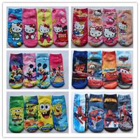 Retail 2014 New lovely baby girl socks cartoon hello kitty mickey socks fashion cute kids ankle socks beautiful girls sock