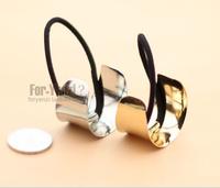 wholesale 12pcs/lot Fashion Women Hair Band Metal Hair Cuff Circle Wrap Pony Tail Holder Ring Rope