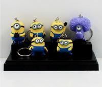 6 Styles  6pcs/lot Movie Despicable Me 3D Minion Keychain Toys Figures  Pendants PVC Toy