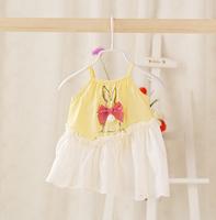 2014 New,baby girls slip dress,children summer princess dress,bow,100%cotton,white/pink/blue/yellow,5 pcs / lot,wholesale,1227