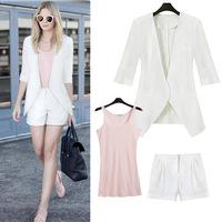 2014 new spring summer suit blazer + shorts + Slim vest