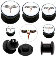 free ship 88pcs/lot mixed sizes Acrylic Buddha Eye Stash Screw Plug ear piercing jewelry