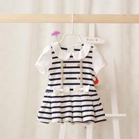2014 New,baby girls striped dress,children summer princess dress,navy style,cotton,bow,5 pcs / lot,wholesale,1228
