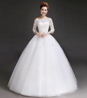 New 2014 Lady Lace Rhinestone Three Quarter Sleeve Bateau Floor Length Princess Formal Bridal Gown Wedding Dresses Ball Gown
