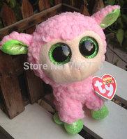 "IN HAND!  NEW 2014 release ~ Ty Beaies boos  BIG EYES Stuffed Animal~ PINK Lamb Sheep Leyla~ ~6"" Stuffed PLUSH DOLL TOY"