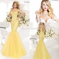 2014 Free Shipping New Arrival tarik ediz Yellow Lace Mermaid Evening Dresses 2014 Floor Length Cap Sleeve Prom Gowns