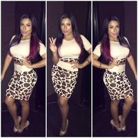 new 2014 summer sexy white stitching leopard print fashion set hot Nightclubs models 3