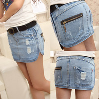 2014 female denim skirt bust hole fashion slim hip skirt all-match denim short skirt