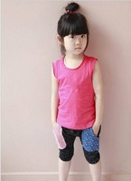 cAEBD1405129Summer new girls harem pants pocket stitching pattern snow pants Korean children's clothing brand