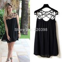 5 2014 New  Fashion Summer Women Cute Novelty Black Party Plain Girl Cut Out Chiffon Mini Shift Dress Sexy Vestidos  S-XL 628