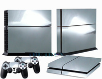 Chrom Silver Decal Skin Sticker for Playstation 4 PS4 + 2 Free Controller Covers 1 pc Free Ship