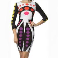 new 2014 summer fashion sexy print long-sleeved dress Nightclubs models hot dress