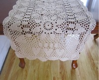 Free shipping cabinet cover towel Pure cotton knitted American tablecloth hollow out flower manual beige crochet table runner