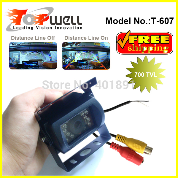 Free Shipping IP68 Waterproof 700 TVL High Defintion Colour CMOS Night Vision Distance Lines ON/OFF Swtich Reverse Camera(China (Mainland))