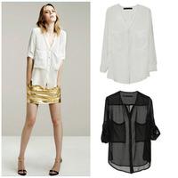 Women's 2014 white solid black long-sleeved chiffon shirt Perspective big pocket chiffon  blouse W025