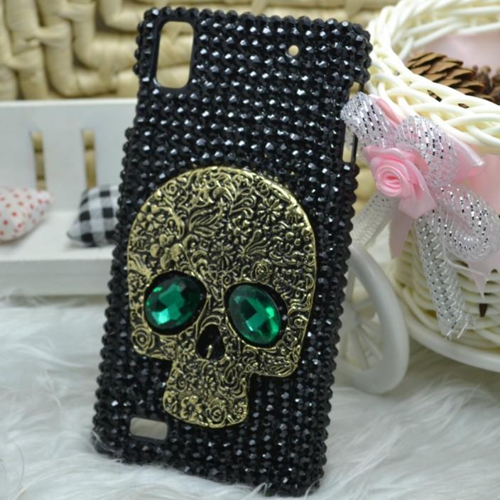 For lenovo K900 case, 2014 new fashion handmade black diamond hard cell phone case for lenovo K900/K910 free shipping(China (Mainland))