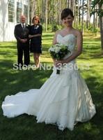 2014 new design Princess Wedding Dress high-end customized 100% High Quality (free veil )