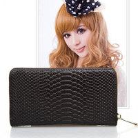 promotion 2014 new genuine leather women wallet croco women clutch wallet cion bag purse  women day clutch free shipping