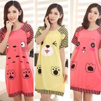 2014 Summer women pajamas cute cartoon nightdress knitting cotton pyjamas Not Fade Milk-silk Sleepwear lounge